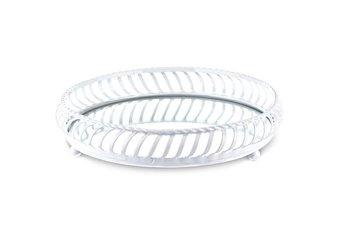 Taca okrągła biała metalowa 5x22x22 cm-Pigmejka