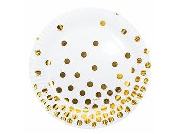 Talerzyki papierowe białe w złote groszki - 18 cm - 6 szt.-KRASZEK