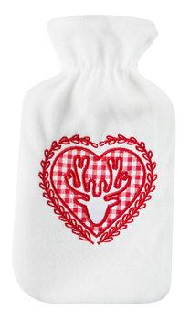 Termofor, serce z reniferem, biało-czerwony