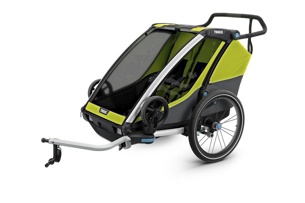 Thule, Cab 2, Chariot, Wózek do biegania/Przyczepka rowerowa dla dziecka, podwójna, Oliwkowy/Szary