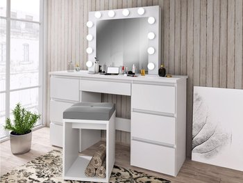 Toaletka z oświetleniem MEBLOWA 1 Beta 4, 12 LED, 7 szuflad, biała, 75x120x45 cm-Meblowa 1