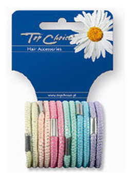 Top Choice, gumki do włosów Pastel, 12 szt.-Top Choice