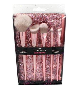 Top Choice, Rosy Shadow, zestaw pędzli do makijażu + brokatowa kosmetyczka-Top Choice