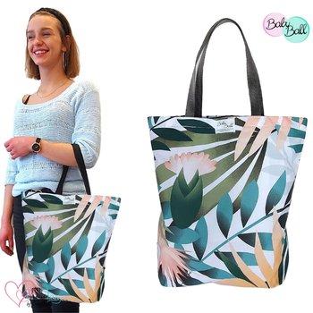 Torba na zakupy bawełniana kolorowe EKO shopperka zakupowa na ramię do ręki - pastelowe palmy-BabyBall