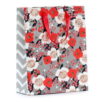 Torba prezentowa, kwiaty, szaro-czerwona, rozmiar M