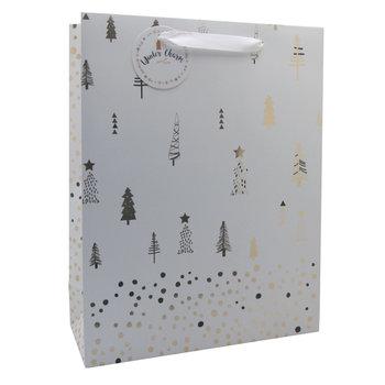 Torba prezentowa, świąteczna, biała, L, Christmas Time