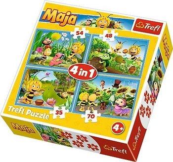 Trefl, Pszczółka Maja, puzzle 4w1 Przygody Pszczółki Mai