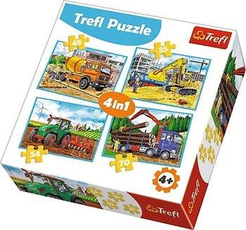 Trefl, puzzle 4w1 Duże maszyny budowlane-Trefl