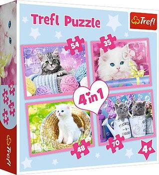 Trefl, puzzle Kocie zabawy, 4w1-Trefl