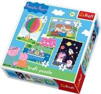 Trefl, Świnka Peppa, puzzle 4w1