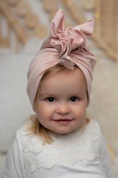 Turban dla dzieczynki - pudrowy róż rozmiar M-Lulaby