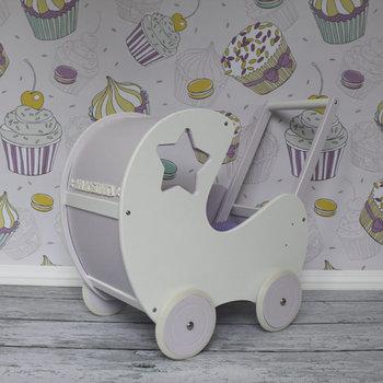 Turkusowa pracownia, wózek dla lalek z gwiazdką