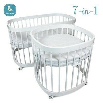 Tweeto, Łóżeczko niemowlęce, rosnące wraz z dzieckiem, 7w1, Bukowe, Białe