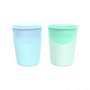 Twistshake, Kubeczek do nauki picia, Niebieski, Zielony, 170 ml, 2 szt. -Twistshake