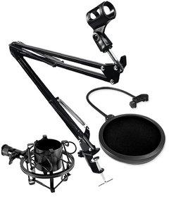 Uchwyt Statyw Biurkowy Mikrofonowy + Pop Filtr + Kosz Antywibracyjny 43-47mm - Zestaw SAIBU