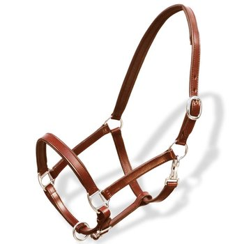 Uprząż na głowę konia z prawdziwej skóry, regulowana, brązowa-vidaXL