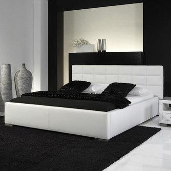Veronica łóżko Tapicerowane Ze Stelażem I Pojemnikiem Na Pościel Białe 140x200 Cm