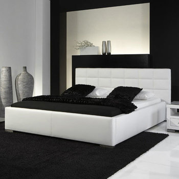 Veronica łóżko Tapicerowane Ze Stelażem I Pojemnikiem Na Pościel Białe 160x200 Cm