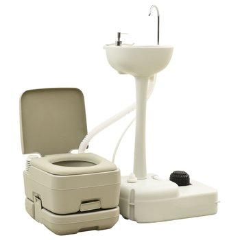 vidaXL, Przenośna toaleta turystyczna 10+10 L z umywalką 20 L, szara-vidaXL