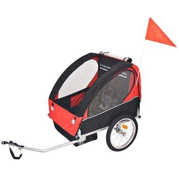 VidaXL Rowerowa przyczepka dla dzieci, czerwono-czarna, 30 kg-vidaXL