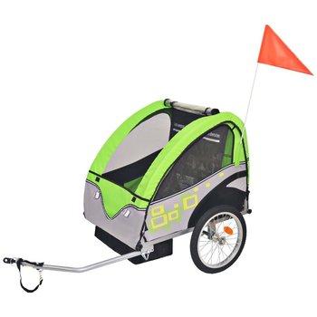 VidaXL Rowerowa przyczepka dla dzieci, szaro-zielona, 30 kg-vidaXL