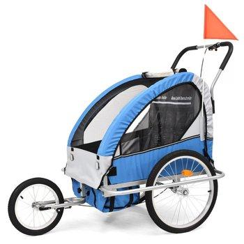 VidaXL Rowerowa przyczepka dla dzieci/wózek 2-w-1, niebieski i szary-vidaXL