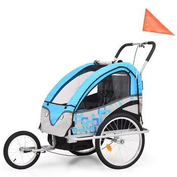 VidaXL Rowerowa przyczepka dla dzieci/wózek 2-w-1, niebiesko-szary-vidaXL