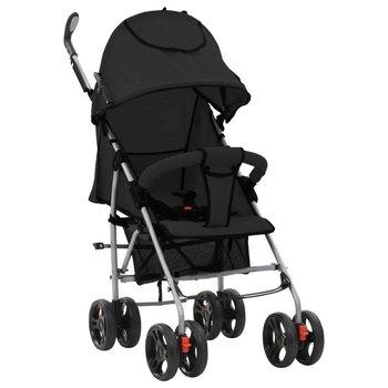 VIDAXL, Wózek spacerowy, składany, stalowa rama, 2w1, Czarny-vidaXL