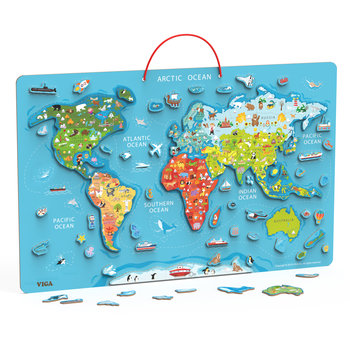 Viga, tablica edukacyjna z Magnetyczną Mapą Świata, 2w1-Viga