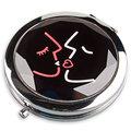 Walentynki, Lusterko kieszonkowe, czarne, okrągłe, 7x7 cm-Empik