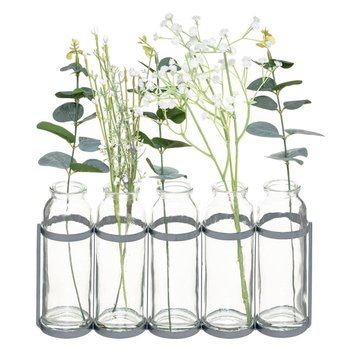 Wazoniki szklane w metalowym stojaku, ze sztucznymi kwiatami, kolor szary-Atmosphera
