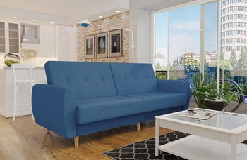 Wersalka wygodna sofa granat PRL drewniane nogi funkcja spania-Moderno Meble