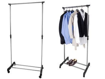 Wieszak stojący na odzież ISO TRADE, srebrno-czarny, 78x92-162 cm-Iso Trade