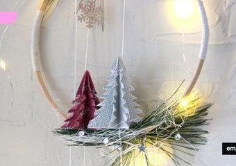 Wisząca dekoracja z choinkami - świąteczny akcent origami