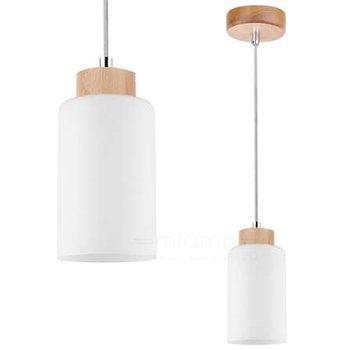 Wisząca LAMPA loftowa BOSCO 1720160 Spotlight szklana OPRAWA skandynawski ZWIS okrągła tuba drewniana brzoza biała-Spotlight