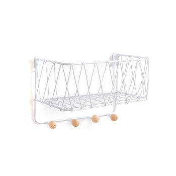 Wisząca półka z wieszakami, styl LOFT– biała, 25,5cm-HEDO