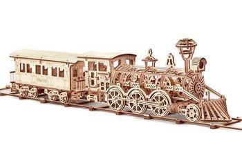 WoodTrick, puzzle mechaniczne 3D Lokomotywa R17 z wagonem i torami-Wood Trick