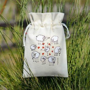 Woreczek bawełniany na drobiazgi - owieczki - mały 15x22 cm-Ilustris