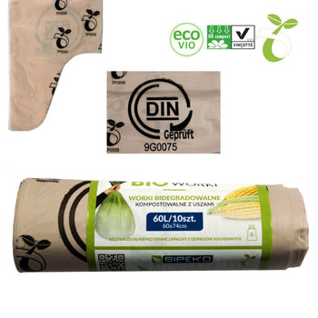 Worki biodegradowalne kompostowalne ATEST 60L 10sz-Sipeko