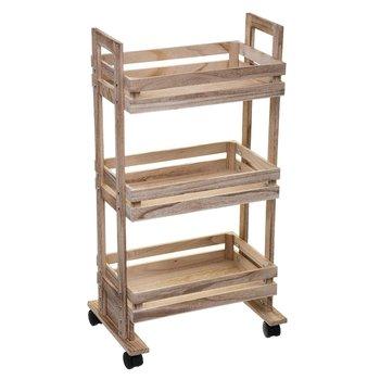 Wózek kuchenny z 3 półkami, drewniany, 82 cm-5five Simple Smart