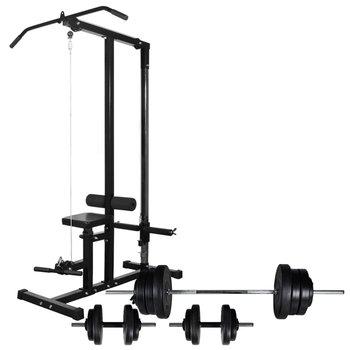 Wyciąg do ćwiczeń i zestaw sztangi z hantlami, 60,5 kg-vidaXL