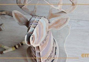 Wykonaj ozdobę na ścianę - papierowe trofeum jelenia.