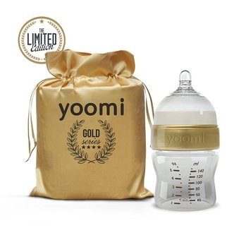 Yoomi, Gold&Black, Butelka antykolkowa, Złoty, 140 ml