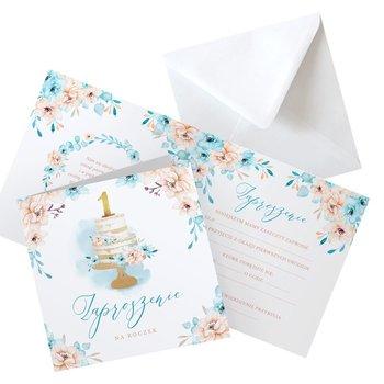 Zaproszenia na roczek błękitny torcik, 10szt (+koperty)-NiebieskiStolik