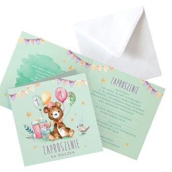 Zaproszenia na roczek miś z balonikami, 10szt (+koperty)-NiebieskiStolik
