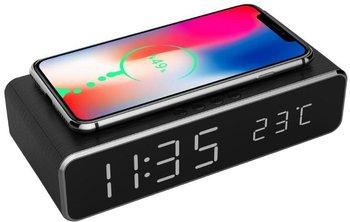 Zegar cyfrowy z funkcją budzika oraz bezprzewodowego ładowania Gembird (czarny)-Gembird