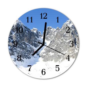 Zegar na szkle na ścianę Okrągły Góry Zima Widok-Tulup
