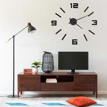 Zegar ścienny 3D, nowoczesny design, czarny, 100 cm, XXL-vidaXL