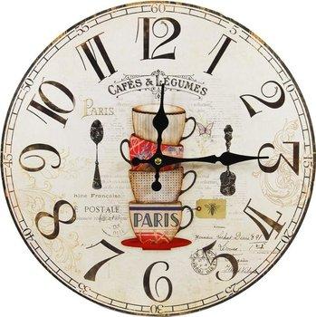 Zegar ścienny retro, motyw filiżanki, 34x4x34 cm -Pigmejka
