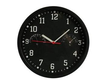 Zegar ścienny z termometrem i higrometrem KEMIŚ, czarny, 22 cm-KEMIŚ